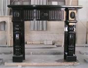Black marble fireplace mantel
