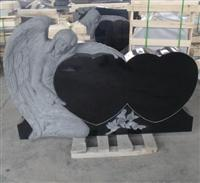 Angle with double heart headstone