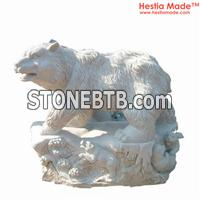 Marble Animal Carvings Bear Sculpture