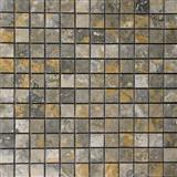 Gold Green 1x1 Polished Travertine Mosaic