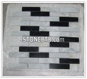 White Black China Marble Mosaic Tiles