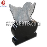 black granite angel monument