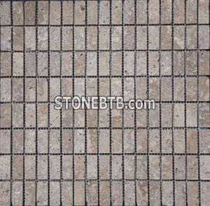 Noce Tumbled Travertine Brick Mosaic
