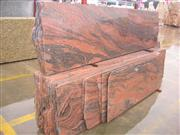 Multicolor red polished granite slabs