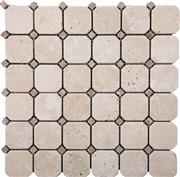 Octagon Noce Medium Travertine Mosaic