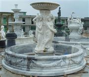 White Marble Water Fountain With Figure
