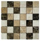 Beige light dark brown mixed marble mosaic