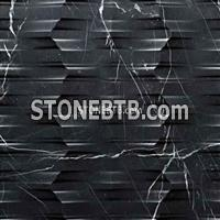 3D CNC Nero Marquina Stone Carving Panel