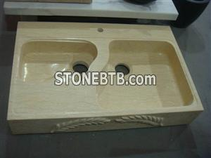 Cheap Polished Sunny Beige Square stone sink