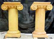 cheap decorative natural Sunny Beige stone columns decoration
