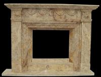 cheap Light emperador indoor used stone fireplace