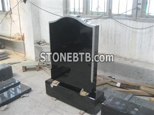 polished upright china black tombstone