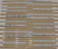 carrara white mosaic tile mix beige glass mosaic