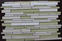 crystal white light emperador mix glass mosaic pattern