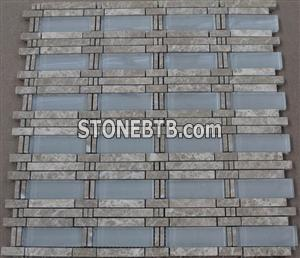 Light Emperador Marble mosaic mix glass mosaic pattern
