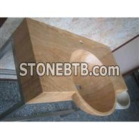 cheap Wood vein yellow marble sink basin