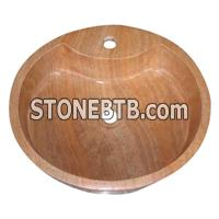 cheap decorative Yellow wood vein marble sink basin