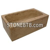 cheap white travertine sink basin