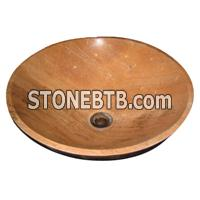 cheap china round yellow serpenggiate marble sink basin