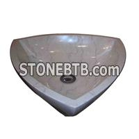 cheap shell beige marble sink basin
