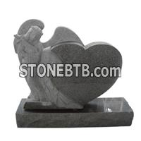 cheap G614 grey heart design tombstone