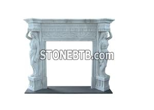 China Natural Pure White Stone Fireplace