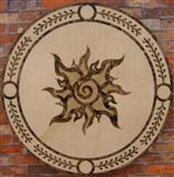 unique round water jet inlay floor medallion
