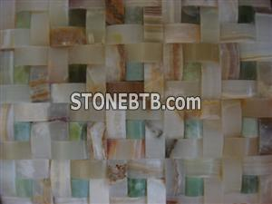 Cheap 3D multicolor green stone mosaic tile for wall