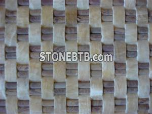 cheap 3D pink and yellow stone mosaic