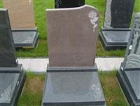 Memorial Stone Headstone with Carved Flower Design