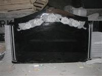 European Styles Black Flower Granite Tombstone