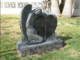 Carved Angel Polished Black Granite Tombstone