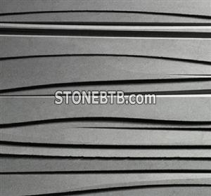 3D CNC black stone wave panel tile
