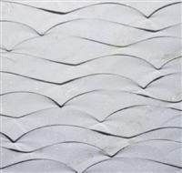 White 3D CNC stone wall wave panel tile