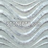3d white carrara interior stone wall border panel