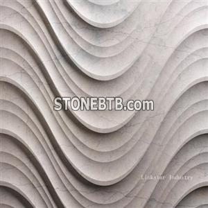 3d cnc natural marble panels on walls