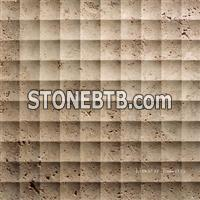 Natural travertine 3d feature wall cladding tile