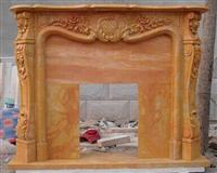 Gold marble carved fireplace