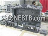 Blue pearl granite temple tombstone with rose