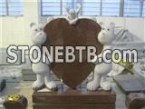 Teddy bear granite baby tombstone in ruby red