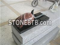 Granite carved 3D rose for cemetery accessories