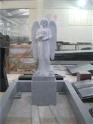 Granite standing angel statue tombstone with kerbs