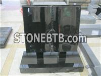 Black granite hand carved book shape with ring headstones