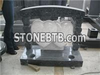 Granite double heart temple tombstone