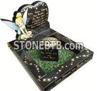 Black granite tinkerbell character design baby headstone