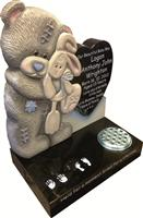 Black granite teddy with heart design headstones for children