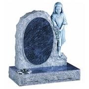 Bahama blue granite girl statue tombstone with rose