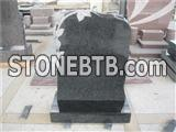 Grey granite square top headstone with rose carving