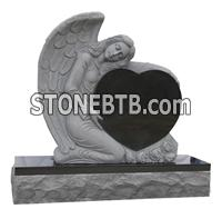 Black granite angel with heart monument