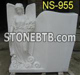 White marble standing angel statue monument